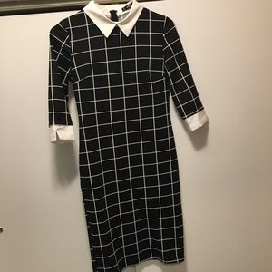 SHEIN Black Dress with White Collar